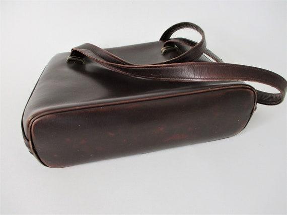 Brown Leather Purse Vintage 1950s Kelly Bag Handb… - image 7