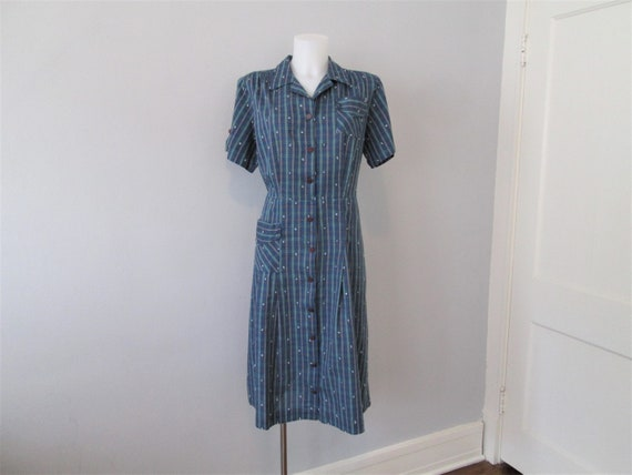 Dress Shirtdress Vintage 1950s Blue Cotton Plaid E