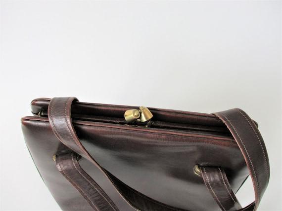 Brown Leather Purse Vintage 1950s Kelly Bag Handb… - image 3