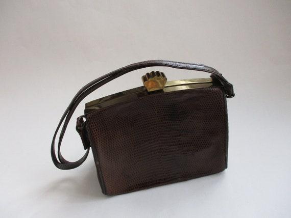 Art Deco Box Purse Vintage 1940s Brown Embossed L… - image 2