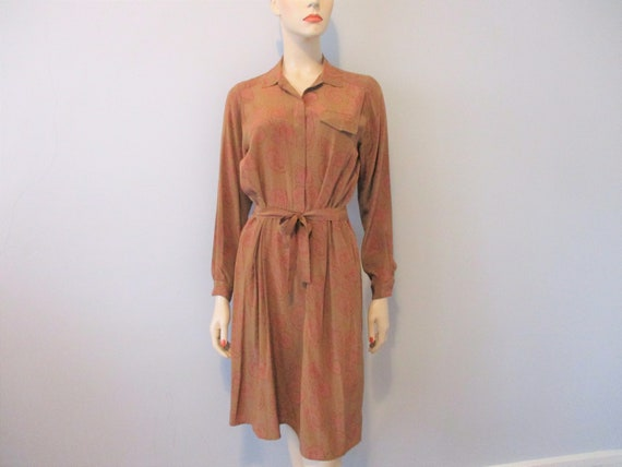 JACK MULQUEEN Vintage 1980s Silk Day Career Dress