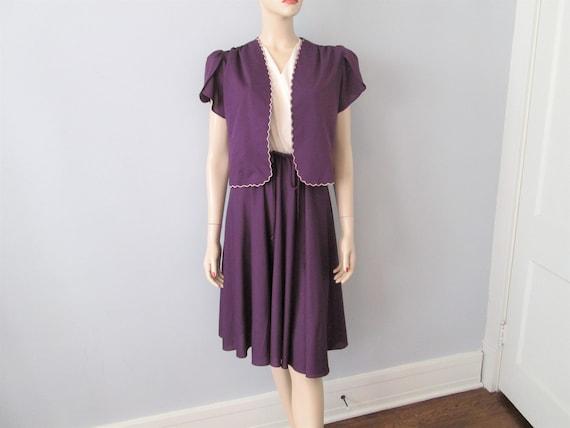 Vintage 1970s Dress Bolero Jacket Suit Set Purple