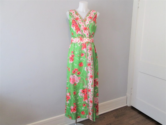 Floral Maxi Dress Vintage 1970s Green Pink Sleevel