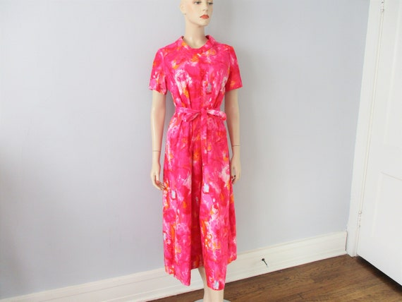 Wide Leg Jumpsuit Vintage 1970s Hot Pink Abstract