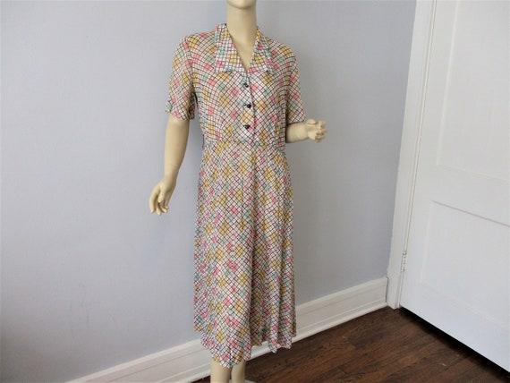 Vintage 1930s Shirtdress Dress Sheer Nylon Checked
