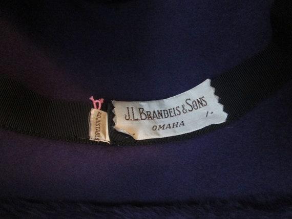 Cloche Hat Vintage 1940s Purple Plush Velour Rhin… - image 9
