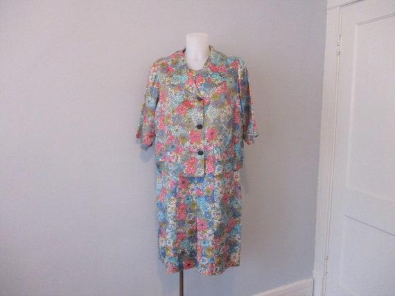 Mod Floral Suit Vintage 1960s Dress Jacket Belt Wi