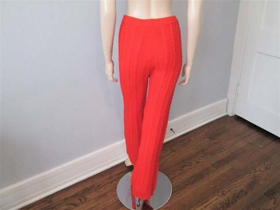Orange Knit Pants Vintage 1970s Cable Knit Wool S… - image 6