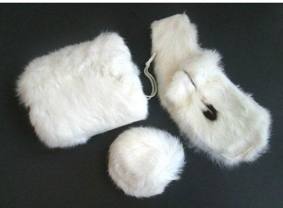 Ermine Fur Accessories Set Vintage 1950s White Muf