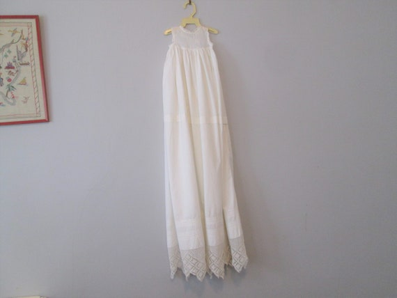 Antique Baby Christening Gown White Cotton Lace Pi