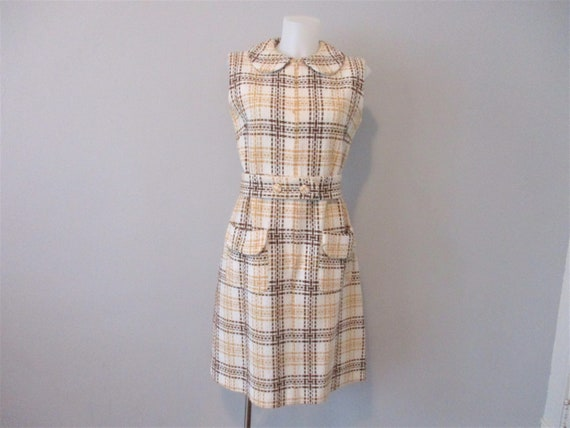 Vintage 1960s Dress Mod Wool Plaid Sleeveless Jum… - image 1