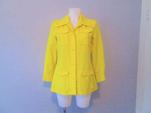 Vintage 1970s Jacket Bright Yellow Button Down Dag