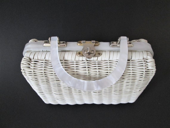 Wicker Purse Vintage 1950s 1960s White Basket Marb