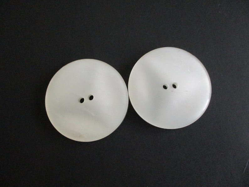 Huge Moonglow Coat Buttons Vintage 1960s Mod White Lucite Pearlized Two Hole Sewing Supply