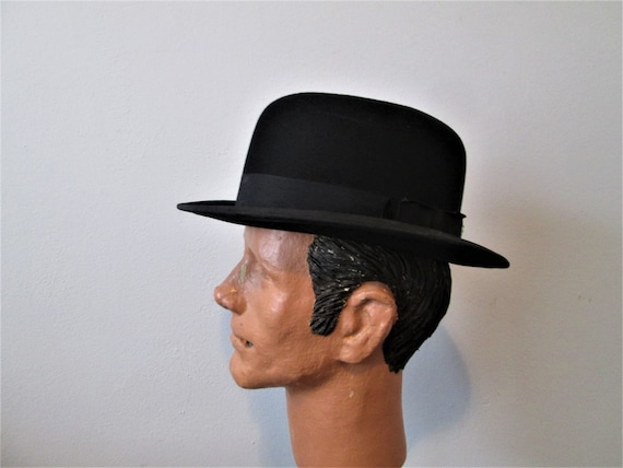 Antique Mens Bowler Hat 1890s 1900s Victorian Edwa