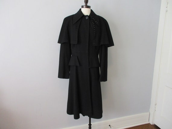 Vintage 1940s Coat Military Style Black Wool Jet G