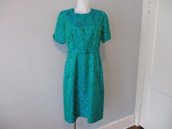 PAULA DEAN Sheath Dress Belt Vintage 1950s Emerald