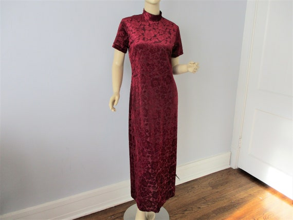Burn Out Velvet Maxi Dress Vintage 1970s Burgundy