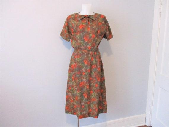 Vintage 1950s Day Dress Brown Green Orange Belt Bo