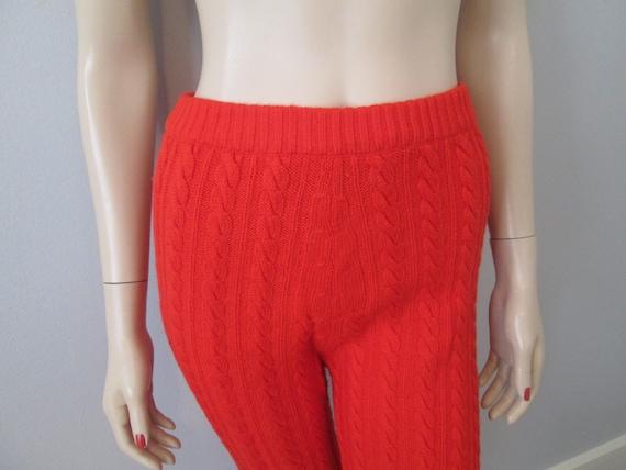 Orange Knit Pants Vintage 1970s Cable Knit Wool S… - image 3