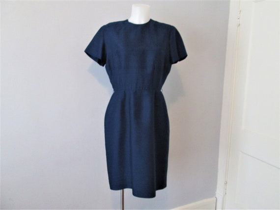 Wiggle Sheath Dress Vintage 1950s Navy Blue Silk F