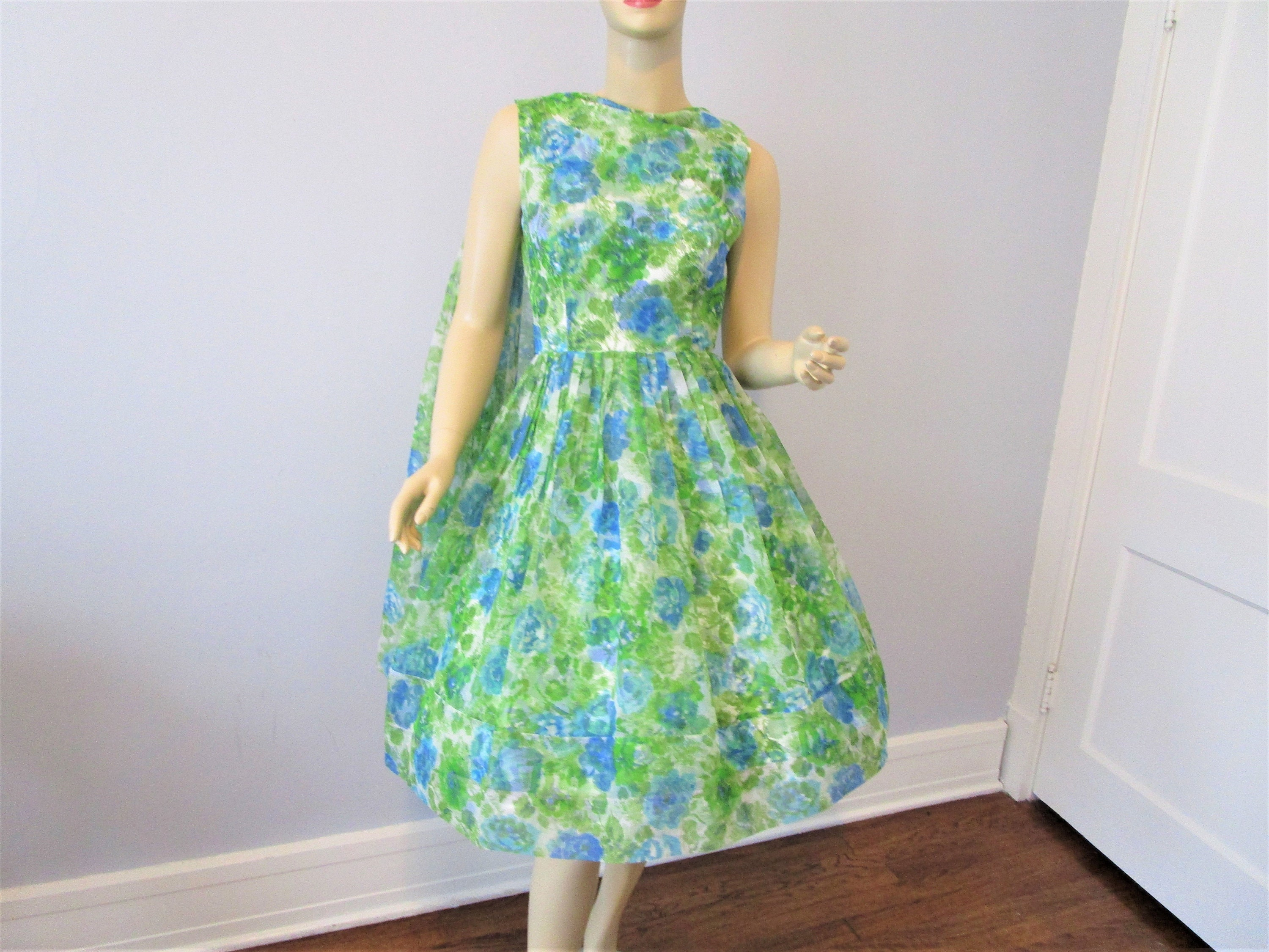 Vintage Scarf Styles -1920s to 1960s Fit  Flare Dress Vintage 1950S Blue Green Floral Chiffon Sleeveless Scarf Cocktail Party $0.00 AT vintagedancer.com