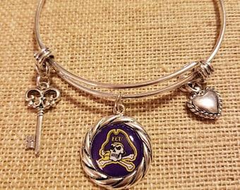 East Carolina Pirates Sterling Silver Enamel Drop Charm Fits All European Style Charm Bracelets