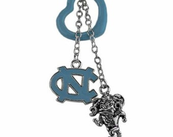 University of North Carolina (UNC) Tarheels Necklace with a UNC Blue Heart Pendant with a dangling blue UNC Charm and a silver Tarheel