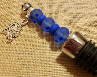 reputable site d27d1 a510d DUKE Blue Devils Wine Stopper made with Handmade Duke Blue with Polka Dots  Glass Beads and a 2 sided DUKE silver logo Charm