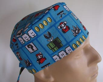 Mario Game Board - Men s Surgical Scrub Hat with sweatband option ac113c819349