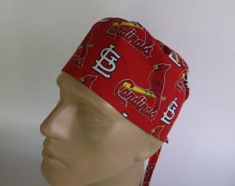 0409f228508 St. Louis Cardinals fabric Men's Surgical Scrub Hat with Sweatband option,  scrub cap, F