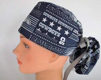 0314d4e2c84f5 Dallas Cowboys Patchwork Ponytail - Womens lined surgical scrub caps