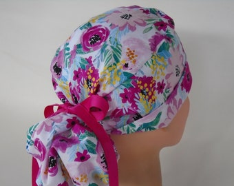 Sunshine /& Flowers women\u2019s scrub hat with ponytail