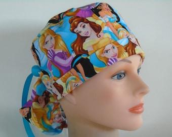 93ef3b3fd9d Disney Princess Ponytail - Womens lined surgical scrub cap, chemo hat,  Nurse scrub cap,49