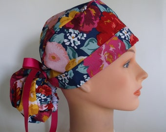 Bold and Beautiful Ponytail - Womens lined surgical scrub cap 9176b3bcec7c