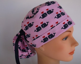 Pink Sweetheart Whales Ponytail - Womens lined surgical cap fcd5228e89e9
