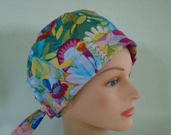4d6934782a4 Wild Garden Tie Back - Womens lined surgical scrub cap, Chemo hat, Nurse  scrub hat, 121