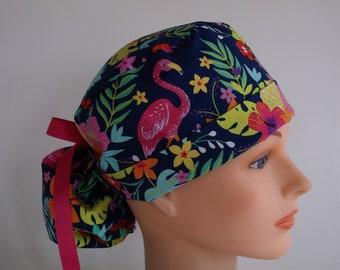 e707d515864 Tropical Flamingo Ponytail - Womens lined surgical scrub cap, scrub hat,  nurse surgical hat, 48