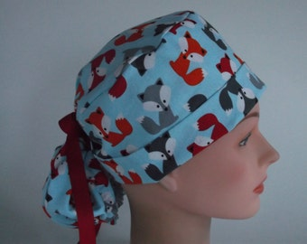 4e99b30e2576e Friendly Foxes Ponytail - Womens lined surgical scrub cap
