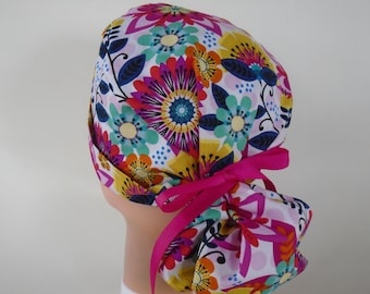 d84e5fe25cf Carnival Flowers Ponytail - Womens lined surgical scrub cap, scrub hat,  nurse surgical hat, 71