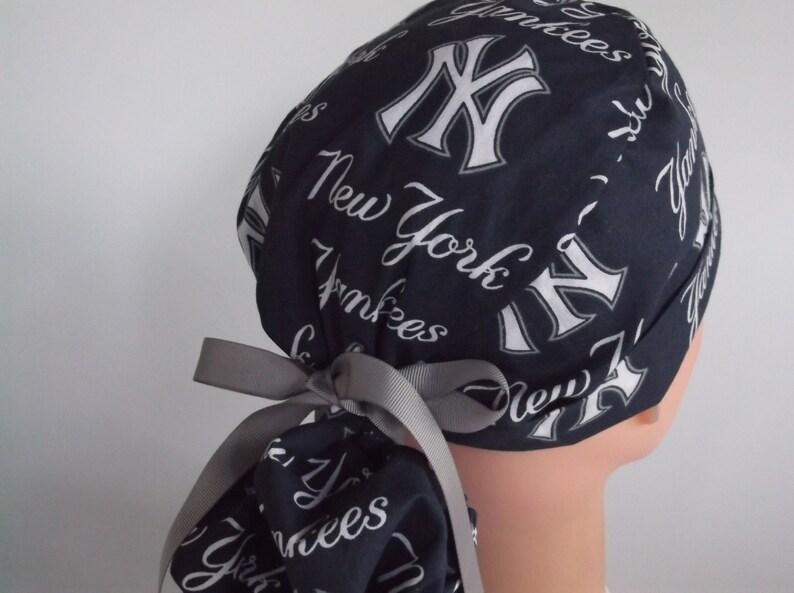 26a2f6de7ae97 New York Yankees Blue fabric Ponytail Womens surgical scrub