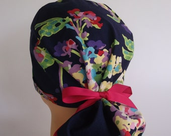 Watercolor Bouquet Ponytail - Womens lined surgical scrub cap, scrub hat, Nurse surgical hat, 19+3800 OW