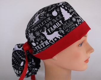 Seasons Greetings Ponytail - Womens lined surgical scrub cap, Nurse surgical scrub hat, 93/111-100 B