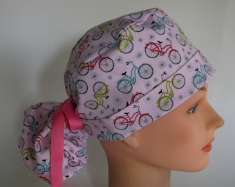 Daisy Bicycles Ponytail - Womens lined surgical scrub cap, scrub hat, nurse surgical hat, 56-1180w
