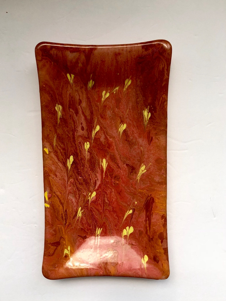 Swirls of pink and red with yellow accents fused glass rectangle dish