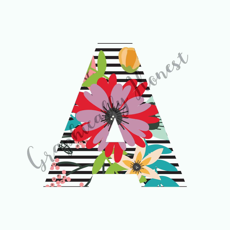 Print and Cut Alphabet Spring Flowers Block Letters Digital