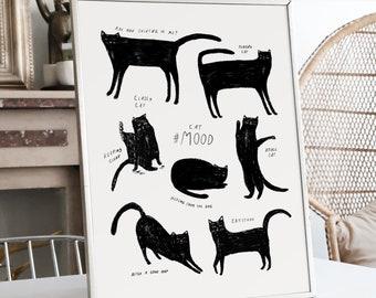 "Black Cat Print | Cat Poster | Cute Cat Illustration | Premium Legacy Paper | 8"" x 10"""