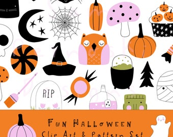 Happy Halloween Clip Art | Whimsical & Colorful Art | Halloween Illustration | Small Commercial Use