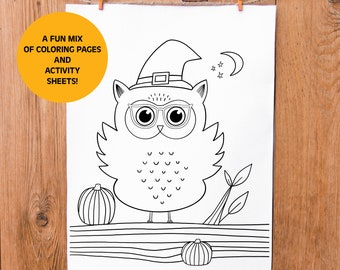 Instant Download, Halloween Coloring Pages, Kids Coloring Set, Kids Activity Sheets, Printable