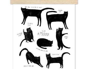 """Black Cat Print With Magnetic Frame 